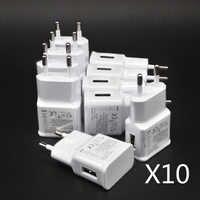 10 unids/lote de adaptador de cargador USB de pared con enchufe europeo de 5V y 2A para Samsung galaxy S5, S4, S6, note 3, 2, iphone 7, 6, 5, HTC, Huawei y Xiaomi