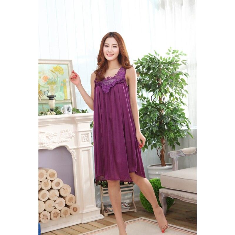2019 Plus Size Sexy Women Ice Silk Sleepwear Female Nightgown Women Nightwear For Ladies Night Shirts Home Clothing Nightdress