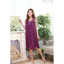 1d64791188e7a 2019 grande taille Sexy femmes glace vêtements de nuit en soie femme  chemise de nuit femmes
