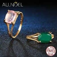ALLNOEL argent 925 bijoux bagues pour femmes 100% naturel vert Agate Rose Quartz cristal bague de mariage marque bijoux fins