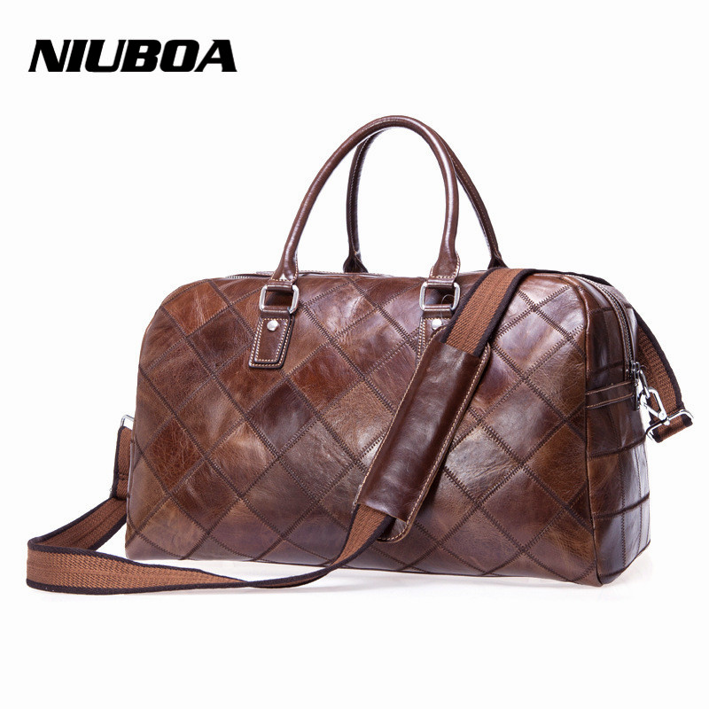 ФОТО Vintage Genuine Leather Travel Bags Cowhide Leather Travel Men Duffle Luggage Large Weekend Stitching Bag Tote