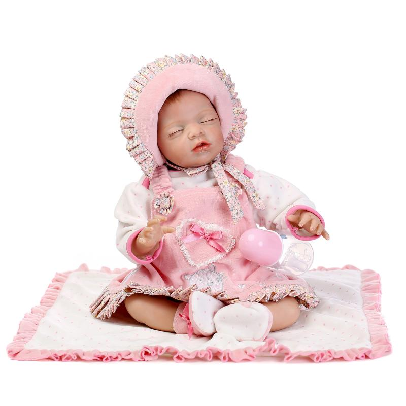 Nicery 20-22inch 50-55cm Bebe Reborn Doll Soft Silicone Boy Girl Toy Reborn Baby Doll Gift for Child Pink Hat Eyes Close Doll nicery 18inch 45cm reborn baby doll magnetic mouth soft silicone lifelike girl toy gift for children christmas pink hat close