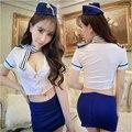 Companhia aérea Aeromoça Uniforme Com Chapéu Cosplay Erótico Porno Mulheres Sexy Lingerie Quente Trajes Babydoll Aeromoça Role Play Set 48