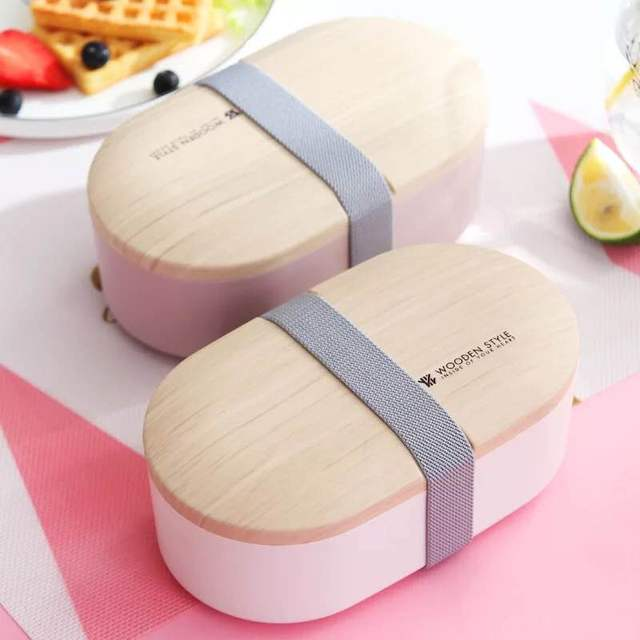 Portable Health Material Lunch Box 800ML Woody Oval Double Lunch Box Microwave Tableware Food Storage Container Lunch Box