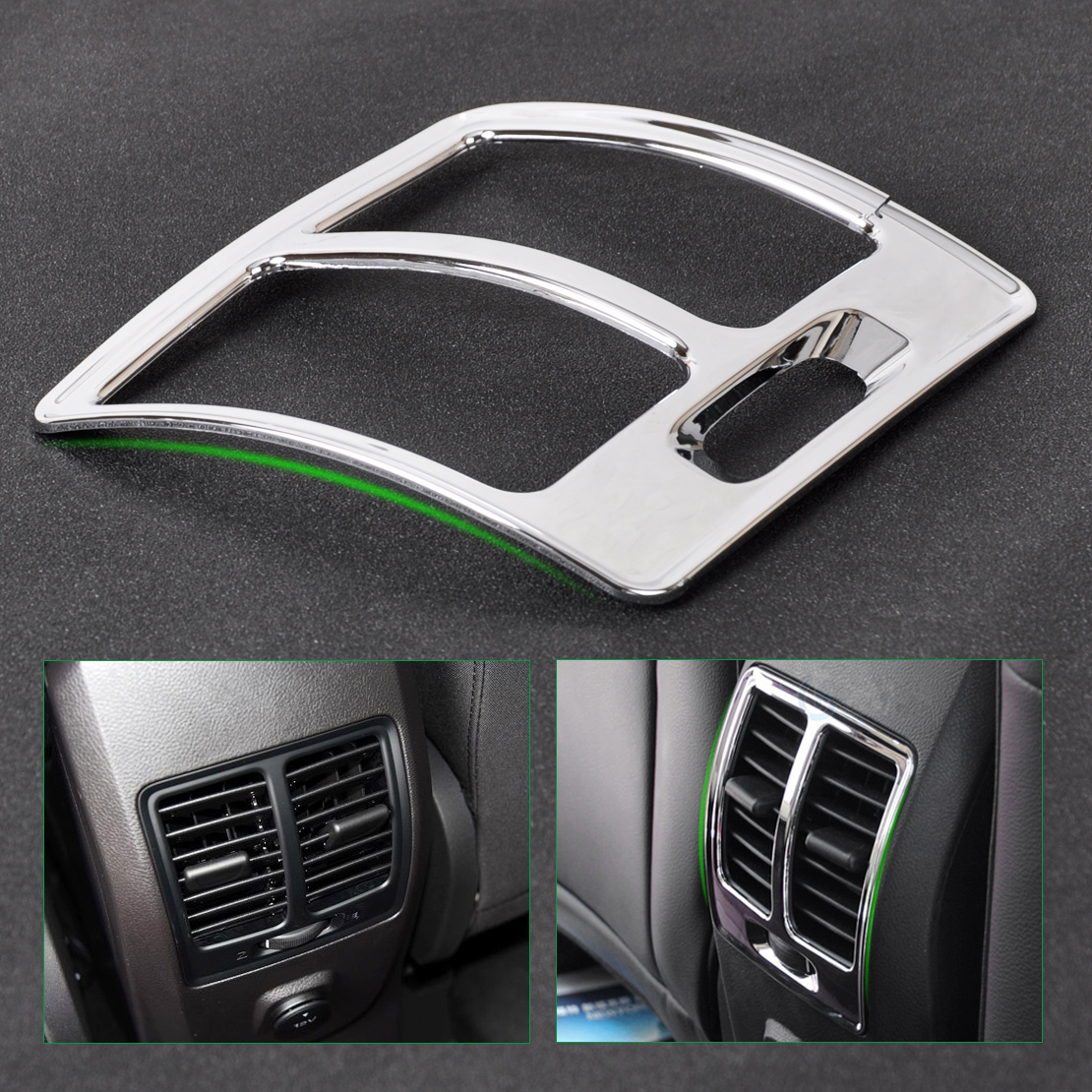 beler New Chrome Armrest Box Rear Air Vent Frame Trim Cover Car Accessories Decoration For Ford ESCAPE KUGA 2013 2014 2015