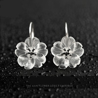 Original White Crystal Ear Drop Female Cold Wind Temperament Forest Pure Silver Ear Nail