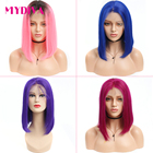 613 Brazilian Straight Lace Front Wig Short Bob Lace Front Human Hair Wigs For Women Blonde Human Hair Wig Remy Pink Blue Mydiva