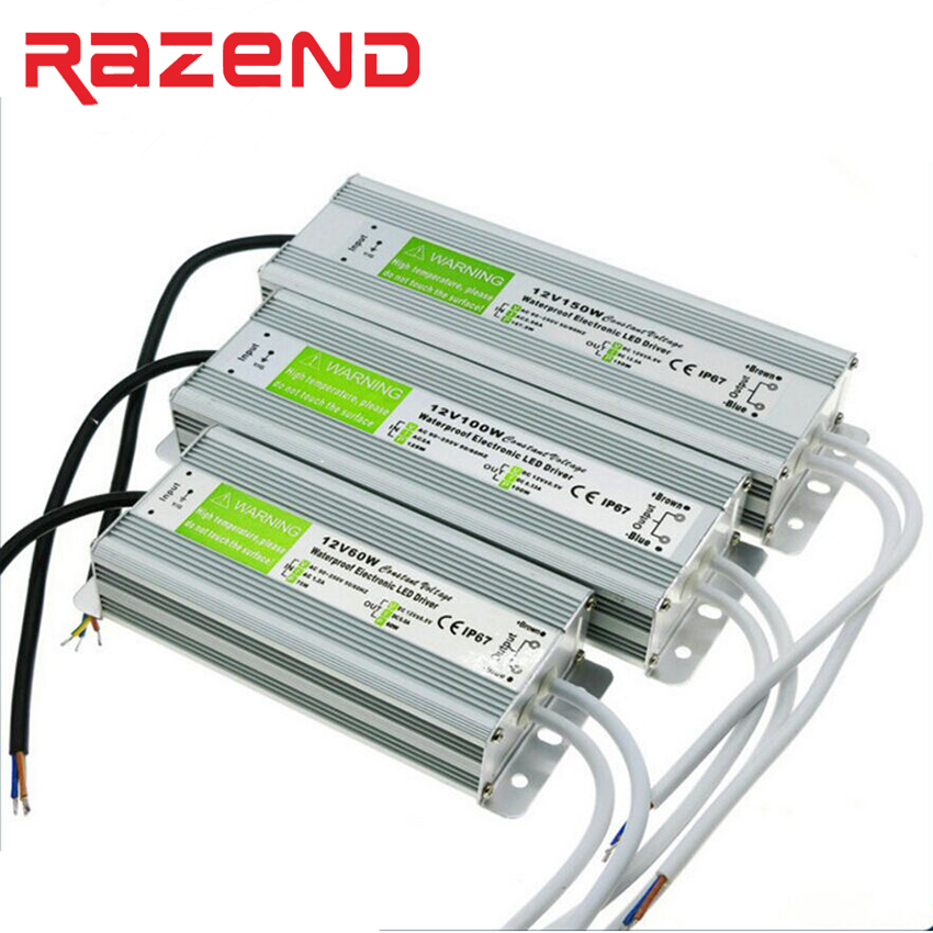 DC 12V 24V IP67 Waterproof Power Supply Transformer Adapter LED Driver AC 100-240V 10W 20W 30W 60W 80W 100W 120W 150W 200W 250W