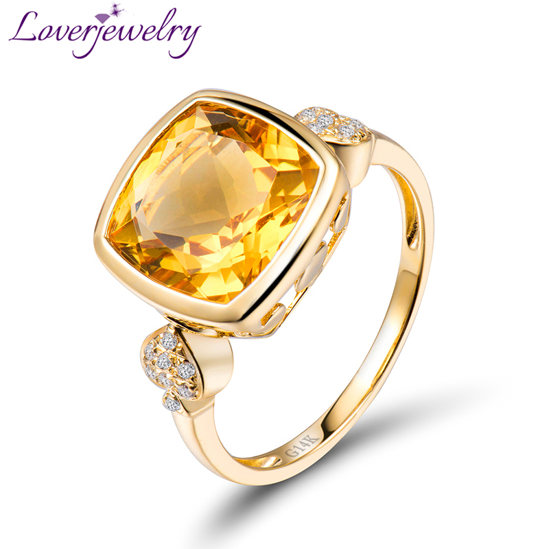 Lovely Real 14K Yellow Gold Natural Citrine Ring Fine Jewelry Natural Diamond Anniversary Gift for Women lovely yellow sapphire earring charming diamond engagement fine jewelry for wife birthday anniversary gift