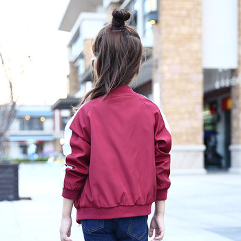 Girls Bomber Jackets Spring Embroidery Floral Nylon Jacket Kids Red Coat For Girls Casual Children Outerwear Embroidery Honeybee 4