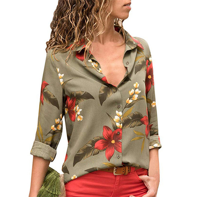 Ladies Shirts Striped Tunic Plus Size Blusas Chemisier Femme Women Blouses 2019 Floral Print Long Sleeve Turn Down Collar Blouse 1