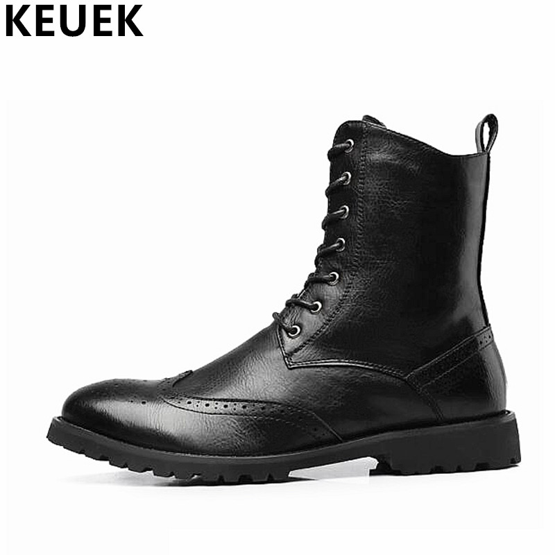 Spring Autumn Men Martin boots Lace-Up Mid-Calf Motorcycle boots Male Tooling leather shoes Black Brown 3A british design mens casual mid calf martin punk motorcycle high boots rivets spring autumn genuine leather shoes lace up zapatos