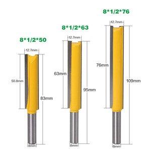 Image 4 - Haste extra longa 3 lâmina 8mm 1 peça 8mm, dia de corte. Ponteira roteadora reta cortador de madeira tenon cortador para trabalho de madeira