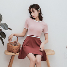 Sexy Independent pleated skirt Swimwear 2019 new High waist Neck Short sleeve one piece swimsuit Deep V women bathing suits