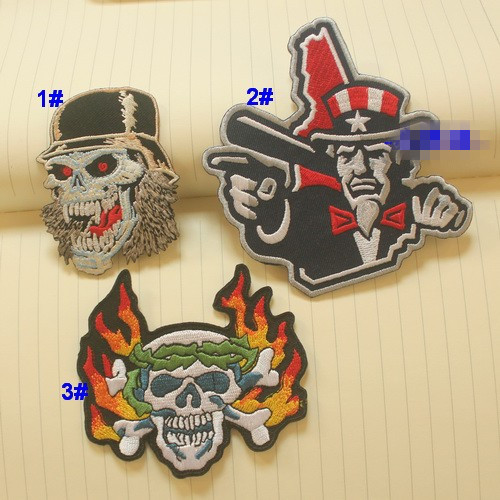 3pcs/set  Amercia Punk Rock Skullcandy Flame Skull Hat Man  Iron On Barbapapa Jacket Patches For Clothing Rock Patch Husky Set
