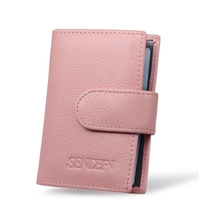 Luxury Women 100% Genuine Leather Business card bag Organ design Bank Credit Card & ID Holders bag wallet