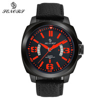 SENORS Men Watches Quartz Male Clock Sport Mens Wristwatch Big Dial Leather Watch Army Relogio Masculino
