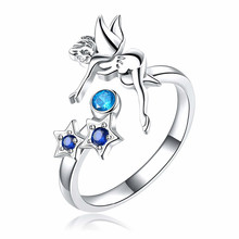 jingyang Rings For Women Fashion Blue Crystal Elf Jewelry Girl Adjustable Charm Circus Ring Valentines Day Present