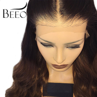 BEEOS 150% Malaysian Ombre Pre Plucked Lace Front Human Hair Wigs With Baby Hair Ombre Lace Wigs Bleached Knot Remy Colorful Wig