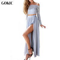 Owlprincess 2017 New Chiffon Lace Dresses Women Long Sleeve Blue Two Pieces Side Split Party Maxi