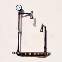 Retro Industrial Gear Wind Home Desktop Bar Art Wooden Double Light Tube Table Lamp Creative Home