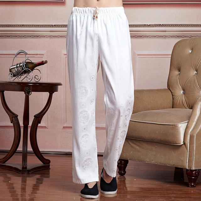 Calças Dos Homens de verão Masculino Chinês Cetim Calças de Kung Fu Tradicional masculina roupas Tamanho M L XL XXL XXXL 2519-3