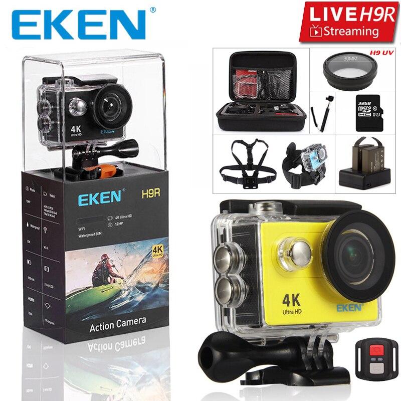 EKEN H9 H9R Ultra HD 4 K Câmera 4K @ 25fps Câmera de Ação 30 Tela de 2 polegadas LCD à prova d' água Controle Remoto Wi-Fi Câmera de Esportes Gopro Estilo