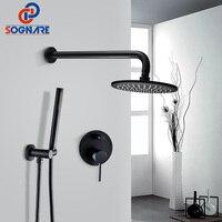 SOGNARE Solid Brass Concealed Shower Faucet Black Matte Set 8 Inch Rain Shower Head Cold Hot