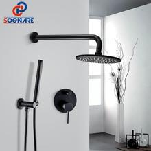 SOGNARE Твердый латунный скрытый смеситель для душа черный матовый набор 8 дюймов дождь Душевая Головка Холодная Горячая ванная душевая система