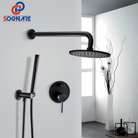 SOGNARE Solid Brass Concealed Shower Faucet Black Matte Set 8 Inch Rain Shower Head Cold Hot