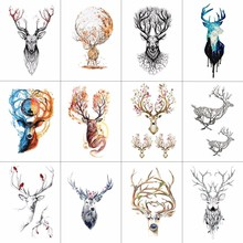 WYUEN 12 PCS/lot Deer Temporary Tattoo Sticker for Women Men Fake Tatoo Body Art Adult Waterproof Hand Stcikers 9.8X6cm W12-07