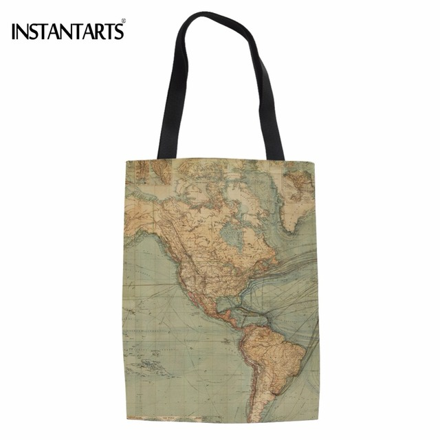 df481578e763 US $9.12 17% OFF|INSTANTARTS Fashion World Map Printed Women Cotton Tote  Bags Brand Design Woman's Handbags Reusable Shopping Cloth Shoulder Bag-in  ...