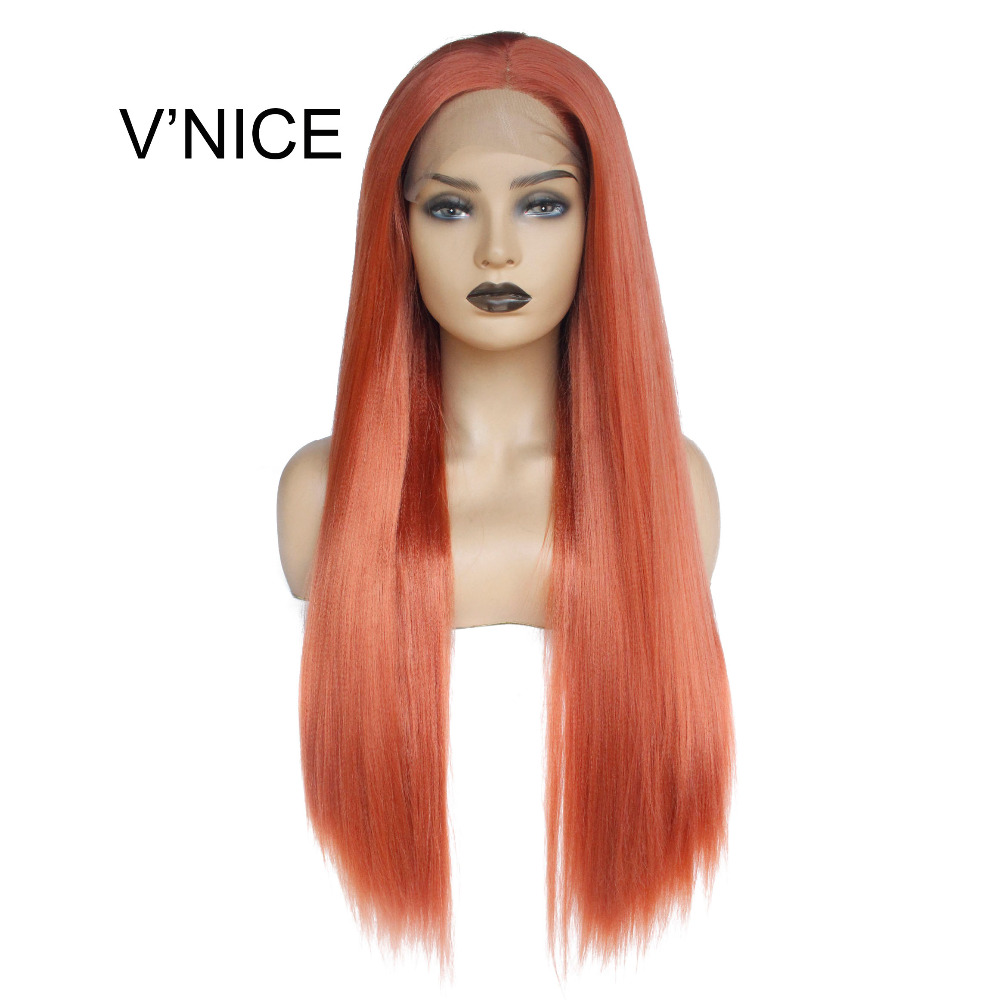 V'NICE Glueless Synthetic Lace Front Wig Light Yaki Straight Layered Haircut Natural Hairline Orange Red Wig Women's Long Wig