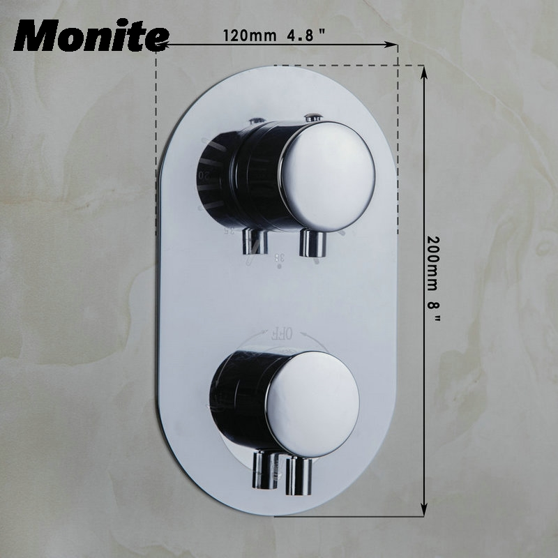 Bathroom Thermostatic Control Valve Shower Mixer Tap Faucet Wall Mount Bathroom Shower polished chrome wall mount temperature control shower faucet set brass thermostatic mixer valve with handshower
