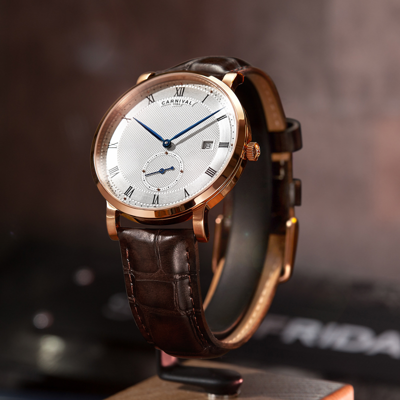 Carnival Automatic Watch Men Reloj Hombre Leather Strap Mechanical Watches Roma Number Clock Waterproof Calendar Wristwatch