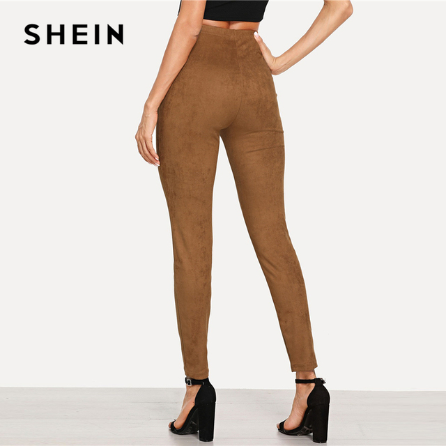 SHEIN Brown Elegant Office Lady Solid Suede Skinny Leggings 2018 Autumn Highstreet Workwear Women Pants Trousers 2