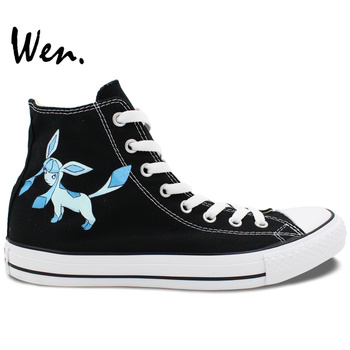 Wen Anime Shoes Black Hand Painted Shoes Design Custom Pokemon Glaceon Pocket Monster Men Women's High Top Canvas Shoes
