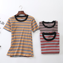 Cotton Contrast Tape Striped Print Ribbed Tee Short Sleeve Round Neck Tops Women Summer Stretchy Slim Fit Crop Harajuku T-shirt