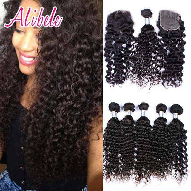 7a Virgin Malaysian Curly Hair With Closure Ali Bele Deep Wave Curly Malaysian Virgin Hair 3 Bundles With Lace Closure 4pcs