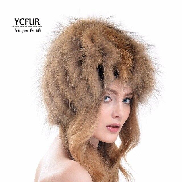 2016 New Fashion Women Fur Beanies Winter Handmade Knit Raccoon Dog Fur Hats Winter Natural Fur Hat Female YH165-1