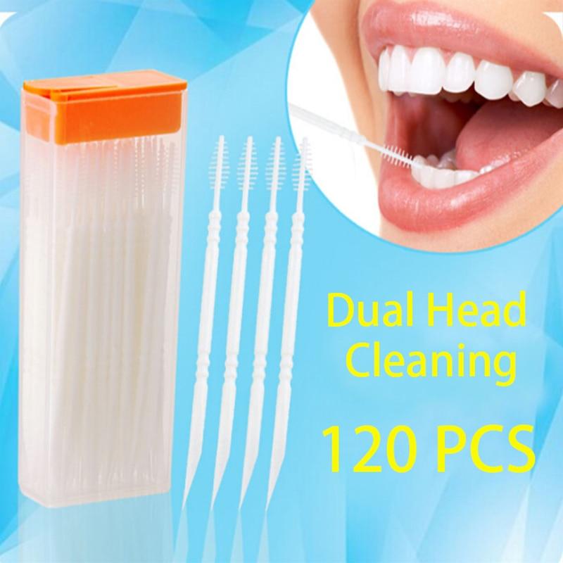 Double Head 120pcs Dental Floss Interdental Toothpick Brush Brush Teeth Stick Hilo Dental Oral Care Toothpicks Floss Pick