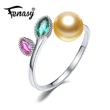 FENASY Pearl wedding ruby rings,black golden pearl jewelry 925 sterling silve leaves emerald Ring for Women Gift,jewelry box