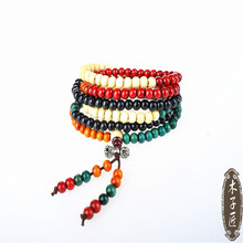 все цены на 10Pcs Ethnic style wooden bead stretch bracelet lap small beads for women and men jewelry colors chain bracelet онлайн