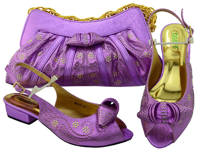 Low heel 1.3 inches sweet design shoes and bag matching set lilac color for  african aso a6447fa7219d