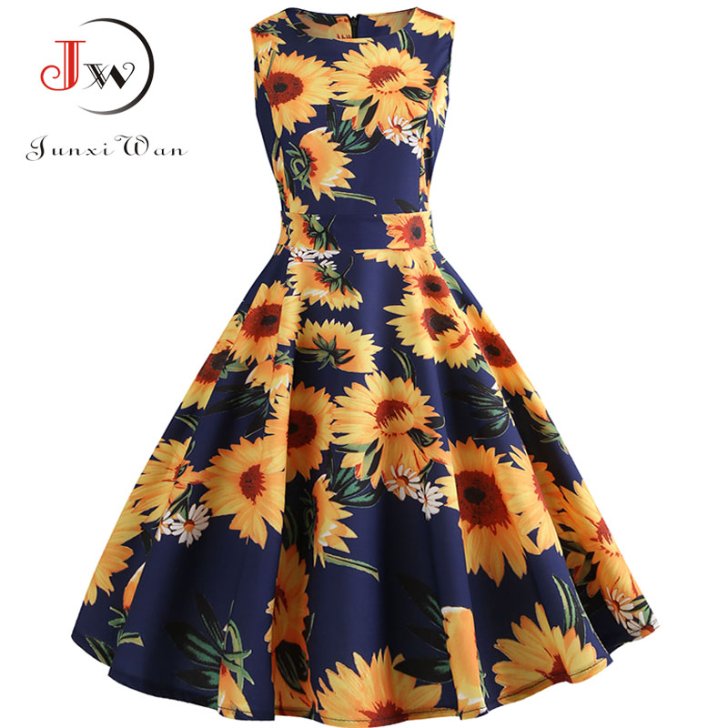 Plus Size Summer Dress Women  Floral Vintage Rockabilly Dresses 50s 60s Retro Big Swing Hepburn Sundress Vestidos Jurken