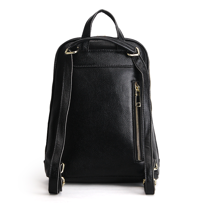 ZENCY 100 Real Genuine Cow Leather Black White Silver Gray Women Design Backpack Lady Girl Top Layer Cowhide School Bag Mochila in Backpacks from Luggage Bags
