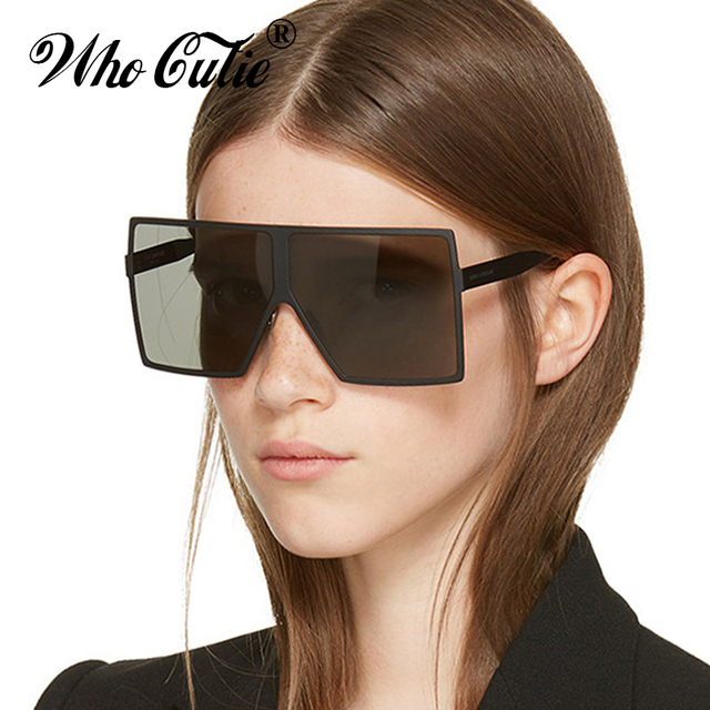 ff1eccf8bb WHO CUTIE Fashion Oversized Square Frame BETTY Sunglasses Women Cool Trend  Shield Style Brand Designer Sun Glasses Shades OM431