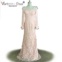 VARBOO_ELSA Hot Sheer Long Sleeve Sweetheart Buttons Back Mermaid Bridesmaid Dresses Lace Bridesmaid Dress Light Pink Bridesmaid