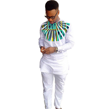 Fashion African men clothes sets tops+trousers Set print and white cotton packwork long sleeve T-shirt and pants festive custom