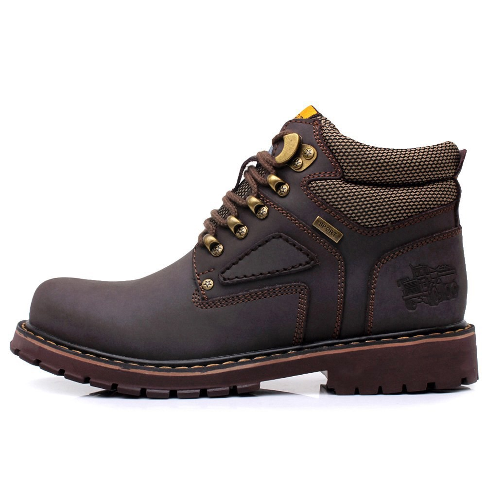 URBANFIND Lace-Up Men Fashion Boots EU 38-44 Durable Rubber Sole Man Nubuck Leather Ankle Shoes Brown / Yellow 5